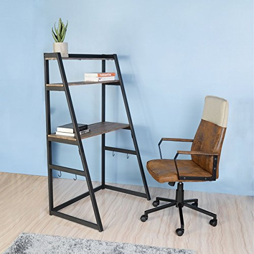 Ladder Desk Bookcase (Aingoo Computer Desk Bookshelf Small Writing Table 2 Tier Ladder Bookcase)