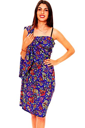 V.H.O. Funky Hawaiian Sarong Pareo Cover-Up For Women One-Size Skull Multi-Blue (Hawaiian Party Dress)