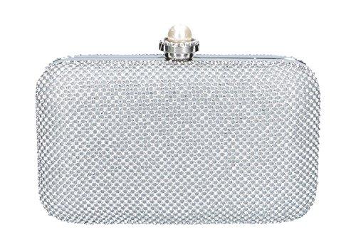 Geldbeutel frau MICHELLE MOON pochette silber Zeremonie mit strass N922
