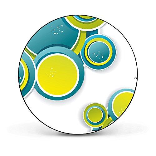 banjado - runde Magnettafel Pinnwand aus Stahl schwarz oder weiß lackiert 47cm Ø mit Motiv Kreise Grün Blau, Magnettafel rund schwarz