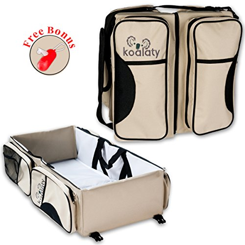 Ultimate 3 In 1 Convertible Diaper Bag by Koalaty: Superior Quality Nappy+ Travel Baby Bassinet+ Diaper Change Station/ Sturdy, Stylish, Trendy Baby Bag For Mom & Dad