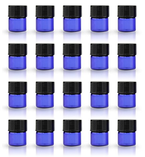 ZbFwmx 1/4 Dram Amber Cobalt Blue Mini Glass Bottle Packed Small vials Sample Vial with Orifice Reducers and Black Caps (Blue-100-Pack) 100 Amber Mini