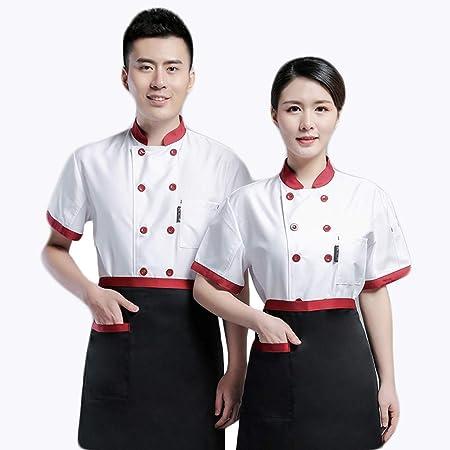 WYCDA Chaqueta de Cocinero para Uniforme de Trabajo para Chef Camisa de Manga Corta para Falda Antiestático Absorción de Humedad Apto para Hombres Y Mujeres Conjunto de Chef,Singlewhite,M: Amazon.es: Hogar