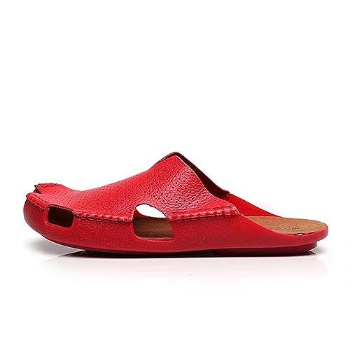 La Mujer Nuevas Marcas De Calzado Cerrado, Cabeza Hueca Bajo Talón Plano Zapata Zapatillas Sandalias De Cuero Calzado De Playa, Rojo, 38: Amazon.es: Zapatos ...