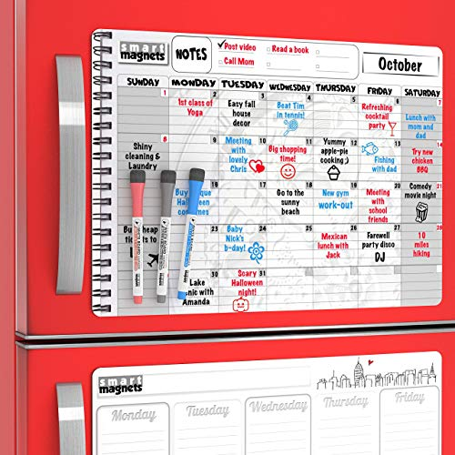 Large Dry Erase Weekly Calendar To Do Board and Big Monthly Magnetic Whiteboard Calendar for Refrigerator - Home Schedule Organizer Set -  Family Organization Board and Cute Refrigerator Calendars