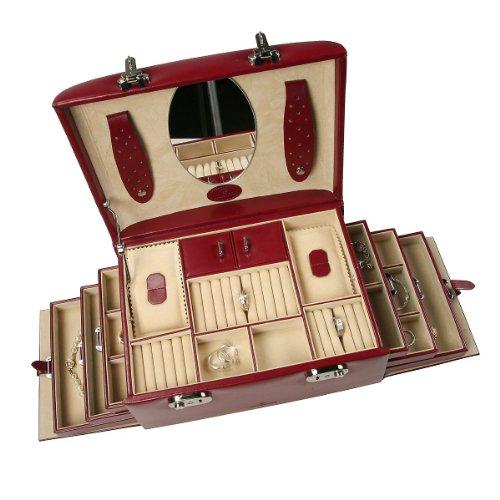 Windrose Merino Schmuckkoffer mit 6 Seitenschubladen 0 rot - 4