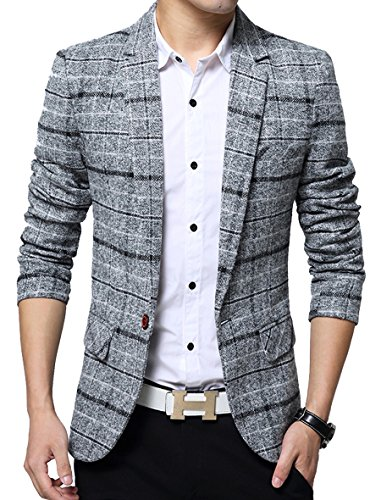 (Men's Casual One Button Slim Fit Blazer Suit Jacket (M, 603Grey) Gray)
