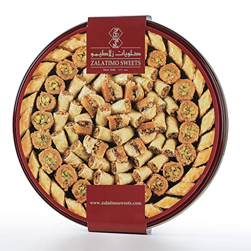 Burma Box - Zalatimo Sweets Since 1860, 100% All-Natural Assorted Baklava, Round Gift Tin, No Preservatives, No Additives, 2.2 LB
