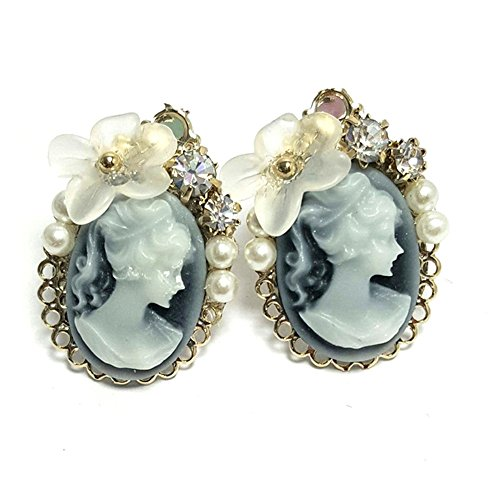 Artnouveau Elle Cameo Acrylic Flower Oval Stud Earrings Handcrafted Fashion Jewelry (Grey)
