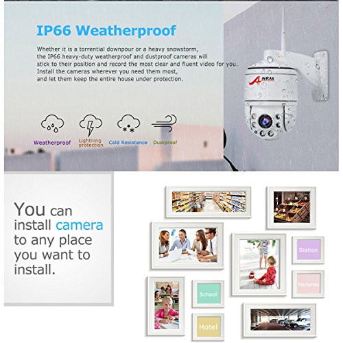 ANRAN PTZ Wireless Surveillance IP Camera 1080P HD Wifi 4×Optical Zoom Auto  Focus High Speed Dome Home Security System Outdoor Waterproof