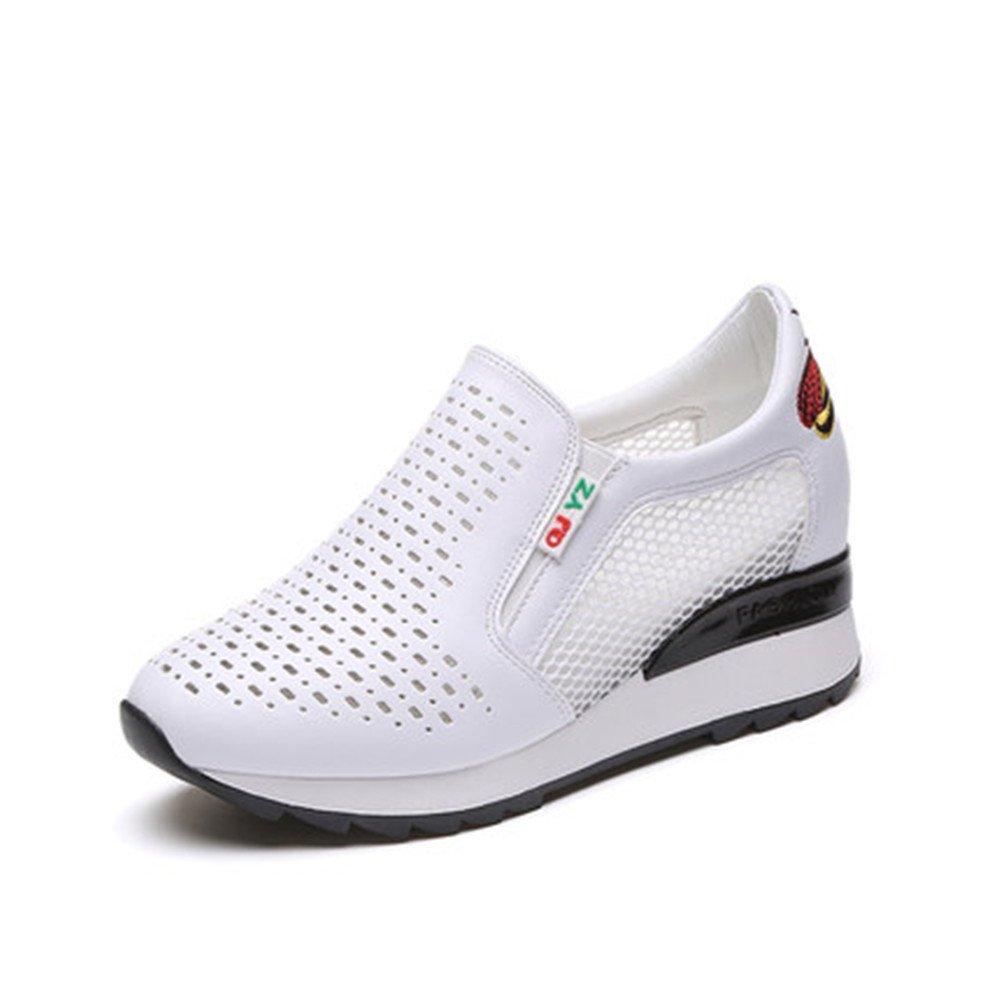 edv0d2v266 Women Fashion Leather Sneakers Casual Lace Up White Black Flat Shoes High Top Hidden Heel Wedges Platform Shoes (Black 38/6 M Women)