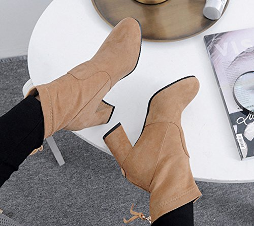 Low Bottines Classique Fermeture Aisun Abricot Boots Femme Eclair BzvqYYE4w