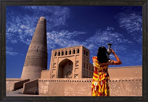 Uighur Girl Carrying Jar, Turpan, Xinjiang Province, Silk Road, China by Keren Su / Danita Delimont Framed Art Print Wall Picture, Espresso Brown Frame, 32 x 22 inches (Uighurs China)
