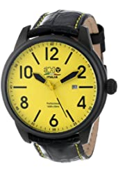 3H Men's 3H05 Oceandiver Black Ion-Plated Stainless Steel Yellow Dial Date Watch