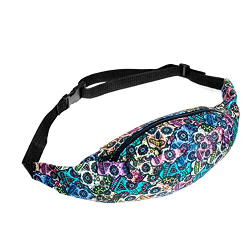 NewKelly Portable Printing Waist Bag Floral Print Fanny Pack Travel Journer Bags Sporting Poop Bags for Women& Teens (F)