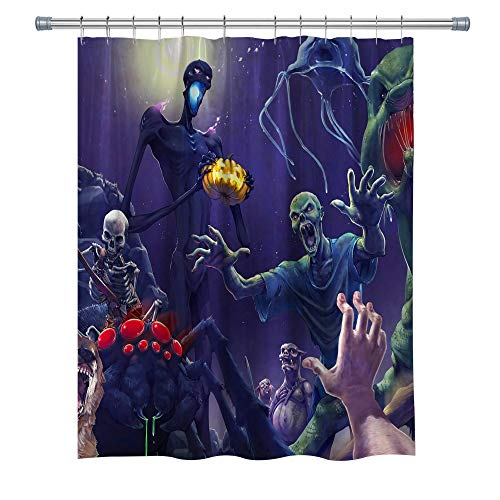 Elite ETSPY Halloween Theme Decor Shower Curtain by, Minecraft - The Destruction of New York City, Waterproof Shower Curtain Set with Hooks, 71X 71 in, Multi