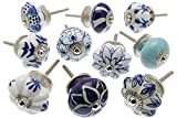 Zoya's 28 Mied Blue Shabby Chic Ceramic Cupboard Knobs Drawer Pull Kitchen K-203E