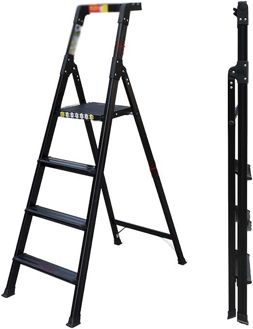 Escalera plegable con bandeja de herramientas grueso de aleación de aluminio de peso ligero de escalera Baranda de escalera de 4 pasos de escalera for la decoración de interiores / Escalada: Amazon.es:
