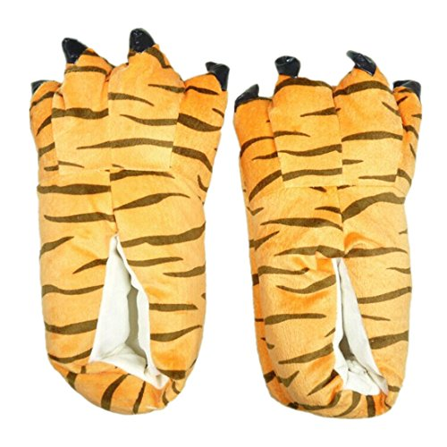 MiziHome Unisex Soft Paw Claw Home Slippers Animal Costume Shoes Leopard L