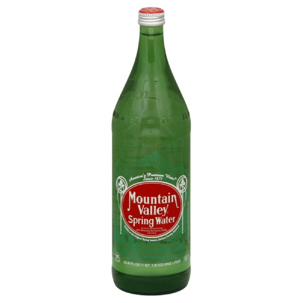 Mountain Valley Spring Water Glass Bottle 33.8 Ounces (Pack of 12)