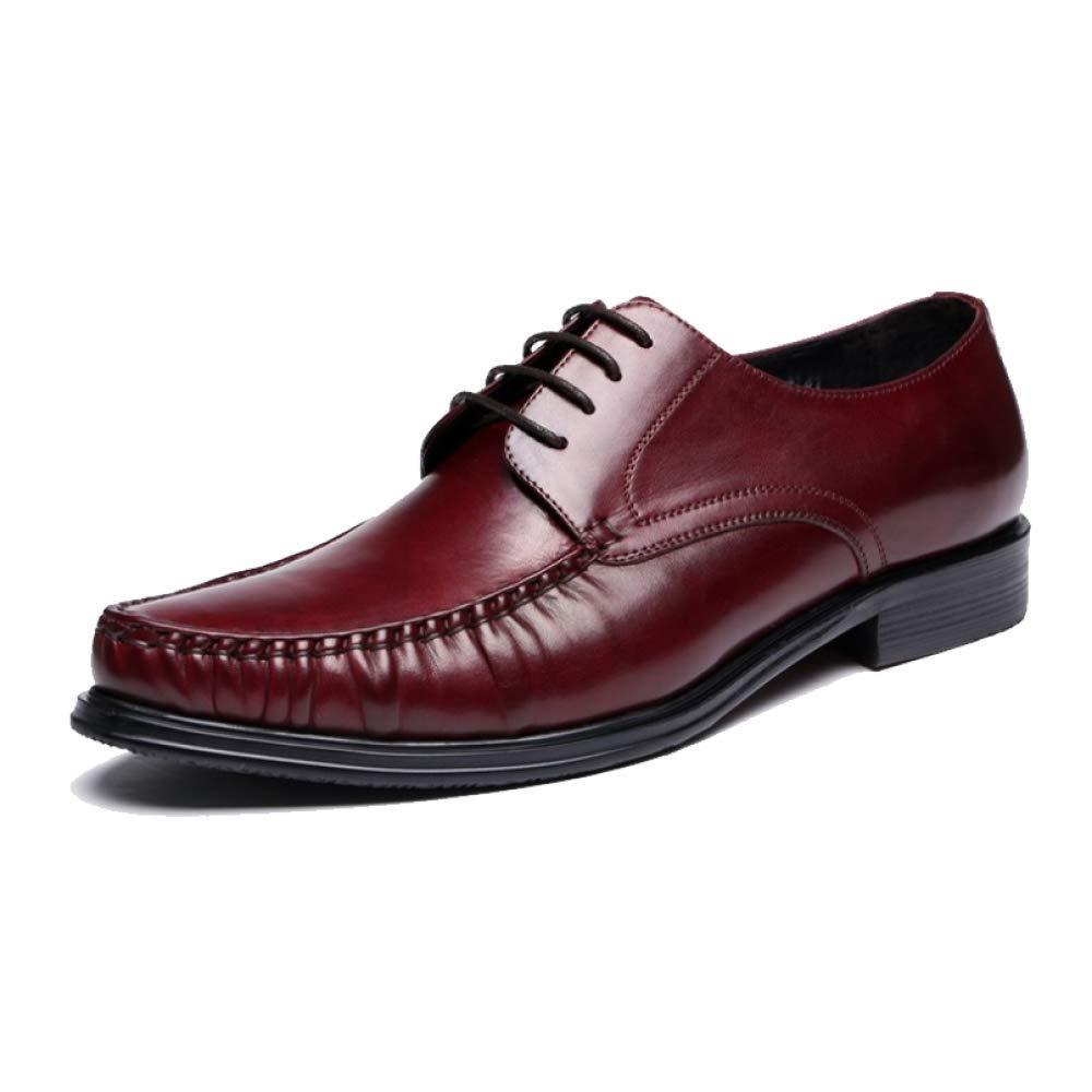 Männer Leder Schuhe Business Gummi Breathable Komfortable Broch Carved Lace WineROT