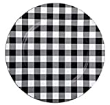Black and White Buffalo Check Plastic Plate Chargers - Set of 4