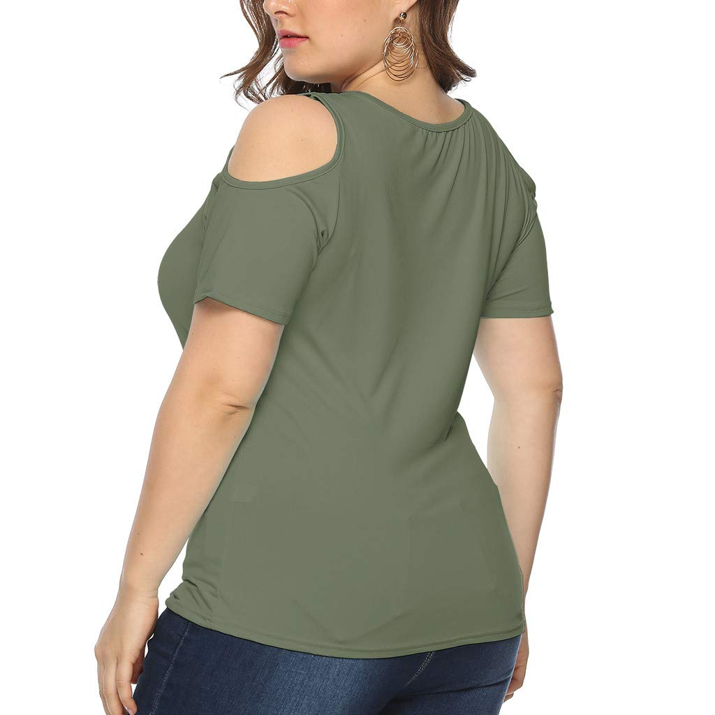 Onegirl Plus Size Tops for Women Off Shoulder Short Sleeve Casual O-Neck Solid Top Tees T-Shirt Blouses XL-5XL