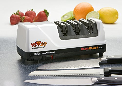 Chef'sChoice 1520 AngleSelect Diamond Hone Electric Knife Sharpener for 15 and 20-Degree Knives 100-Percent Diamond Abrasives Stropping Precision Guides Made in USA, 3-Stage, White