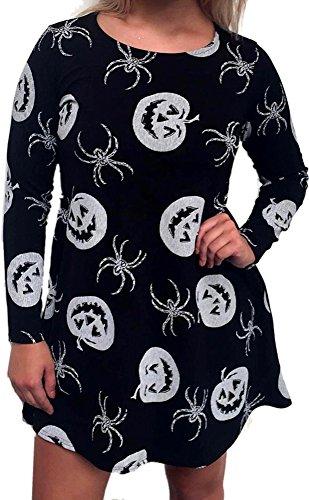 Halloween Vampire Women Party Wear Horror Scary Bodycon Mid Longsleeve Costumes Dress White Pumpkins S -