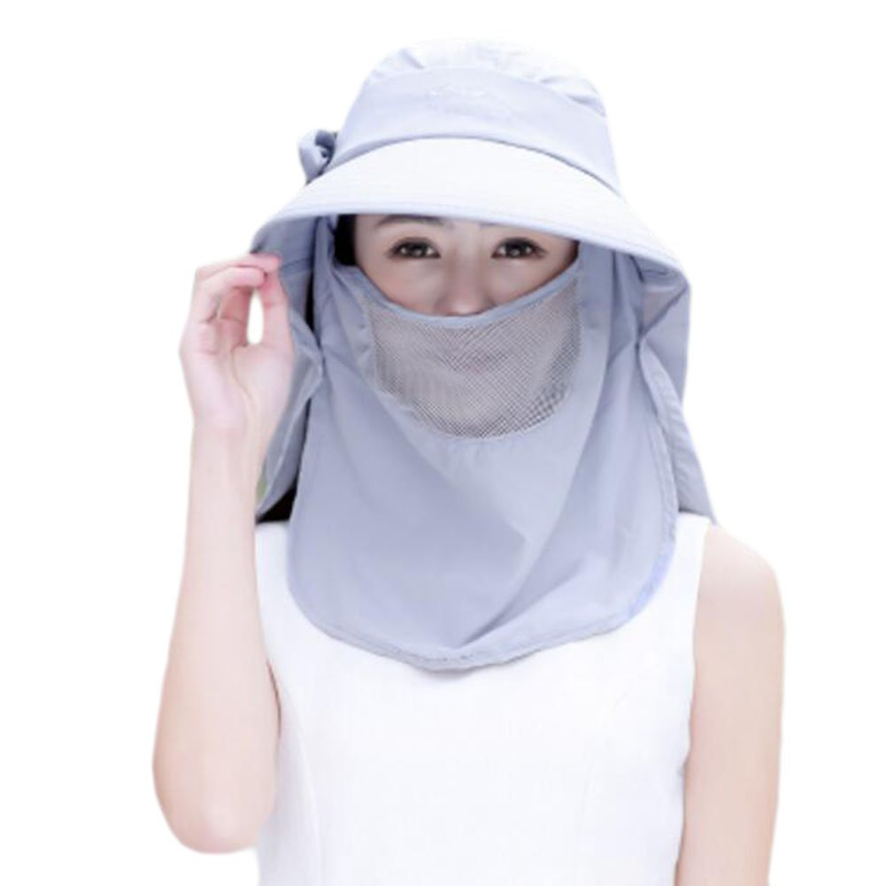 Outdoor Cycling UV Protection Hat Fashion Summer Sunscreen Hat Veil Removable-Gray George Jimmy