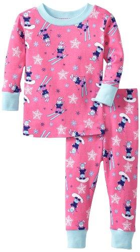 - New Jammies Baby Girls' Organic Pajama Ski Bunnies, Pink, 12 Months