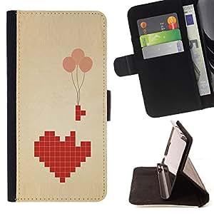 """For Samsung Galaxy S6 Edge Plus / S6 Edge+ G928,S-type Broken Heart Art Globo Significado"""" - Dibujo PU billetera de cuero Funda Case Caso de la piel de la bolsa protectora"""