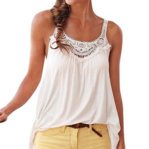 DEATU Womens Tank Tops Summer Fashion Casual Lace Strappy Sleeveless Blouse (M, White)