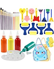 Painting Tool Kit, 34Pcs Paint Supplies Include Paint Cups with Lids Palette Tray Multi Sizes Paint Pen Brushes Set for Kids Gifts School Prizes Art Party