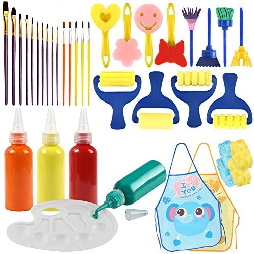 BigOtters Painting Tool Kit 34PCS Kids Washable Paint Brushes Set Finger Paints Sponges Supply for School Prizes Art Party Gift