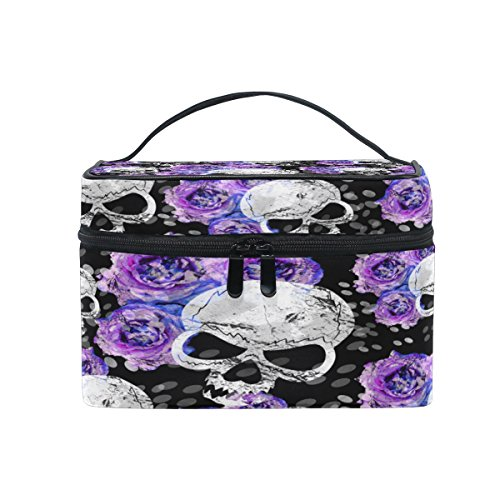 KUWT Skull And Purple Rose Women Travel Makeup Bag Portable Cosmetic Train Case Toiletry Bag Beauty Organizer]()