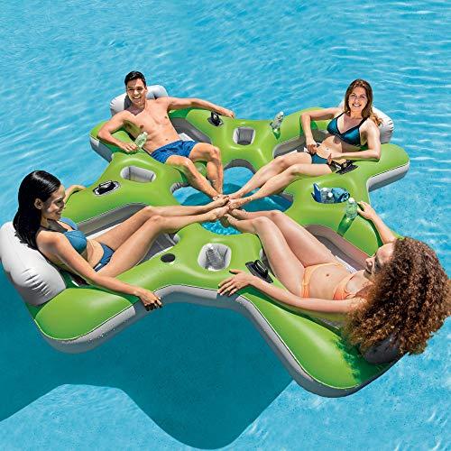 (Intex Lounge Island Inflatable 4 Seat Inflatable PVC Pool Float Raft,)