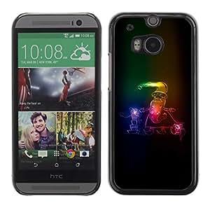 Be Good Phone Accessory // Dura Cáscara cubierta Protectora Caso Carcasa Funda de Protección para HTC One M8 // Santa Claus Neon Winter Christmas Sleigh