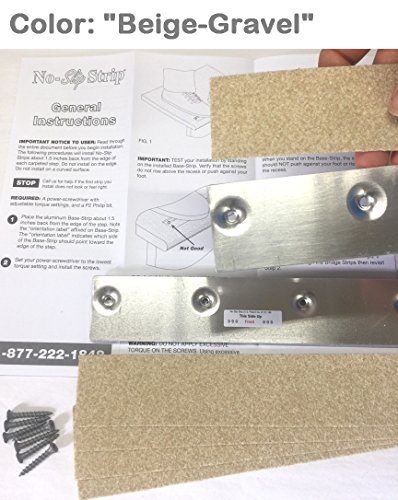 No-slip Strips - Non-Slip Nosing for Increased Safety On Carpeted Stairs, Beige-Gravel Color, MEDIUM Grit Traction for Indoor Carpeted Stairs, 34x2 Inches, 5 Strips by No-slip Strip (Image #3)