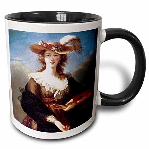 3dRose BLN Portrait Gallery by the Masters Fine Art Collection - Self-Portrait by Elisabeth Vigee-Lebrun - 15oz Two-Tone Black Mug (mug_128109_9)