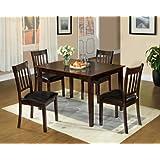 Furniture of America IDF-3012T-5PK Letta 5-Piece Dining Table Set, Espresso Finish