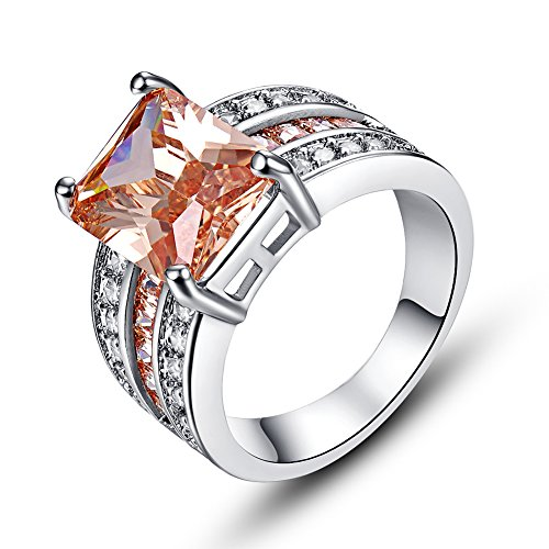 [Psiroy 925 Sterling Silver Delicate Morganite Filled Ring for Women] (Princess Daisy Costumes Pattern)