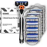 Solimo 5-Blade MotionSphere Razor for Men with Precision Trimmer, Handle & 16 Cartridges (Cartridges fit Solimo Razor Handles only)