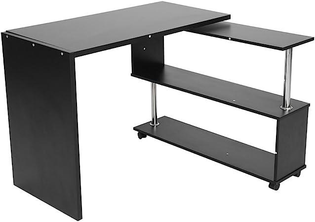 ebtools – Escritorio en forma de L giratorio mesa para ordenador mesa para trabajo mesa con estanterías de madera para dormitorio oficina de trabajo sala de estudio 2 formas variables negro: Amazon.es: