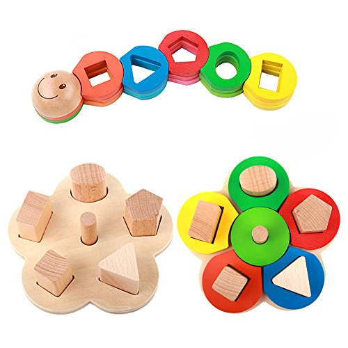 Rolimate Educational Preschool Wooden Shape Color Recognition Geometric Board Block Stack Sort Chunky Puzzle Toys, Birthday Gift Toy for age 3 4 5 Years Old and Up Kid Children Baby Toddler Boy Girl