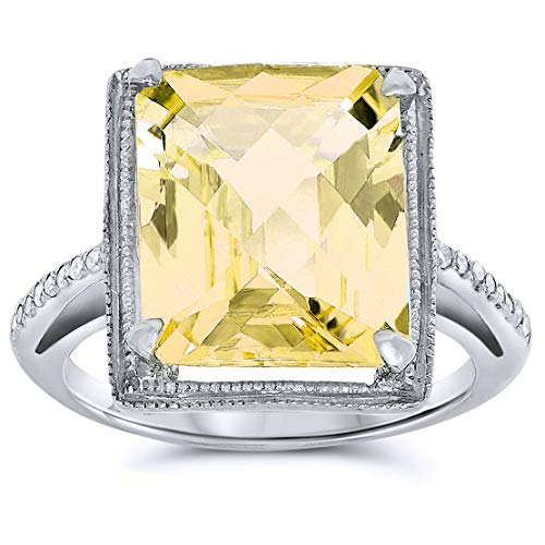 .925 Sterling Silver Citrine and Diamond, Birthstone of -