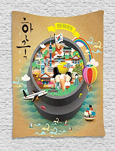 OUR WINGS Korea Tapestry Traditional South Korean Motifs Inside a Khimchi Hot Pot Tourist Attractions Cartoon Wall Hanging for Bedroom Living Room Dorm 3959 Inches Multicolor ()