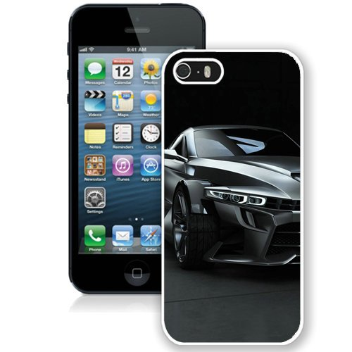 Coque,Fashion Coque iphone 5S Noir Super Sport Car blanc Screen Cover Case Cover Fashion and Hot Sale Design