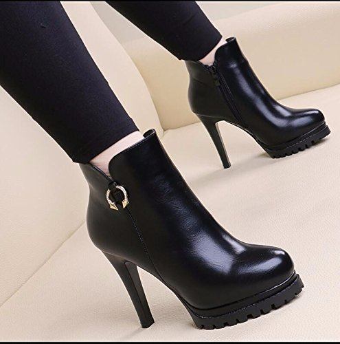 KHSKX-Black 10Cm Thin And Short Boots Female Autumn And Winter Cotton Boots The New Tide Thick Bottom Martin Boots Waterproof Taiwan High-Heeled Boots And Versatile Raw 38 8Wtq5yK7