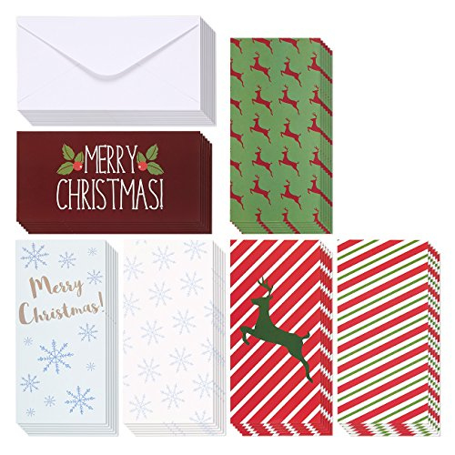 Christmas Money Greeting Cards - 36 Pack Assorted - 6 Winter Holiday Designs, Snowflakes, Stripes, Reindeer, Candy Canes, Mistletoe 3.5 x 7.25 Inches With Envelopes (Christmas Greetings)